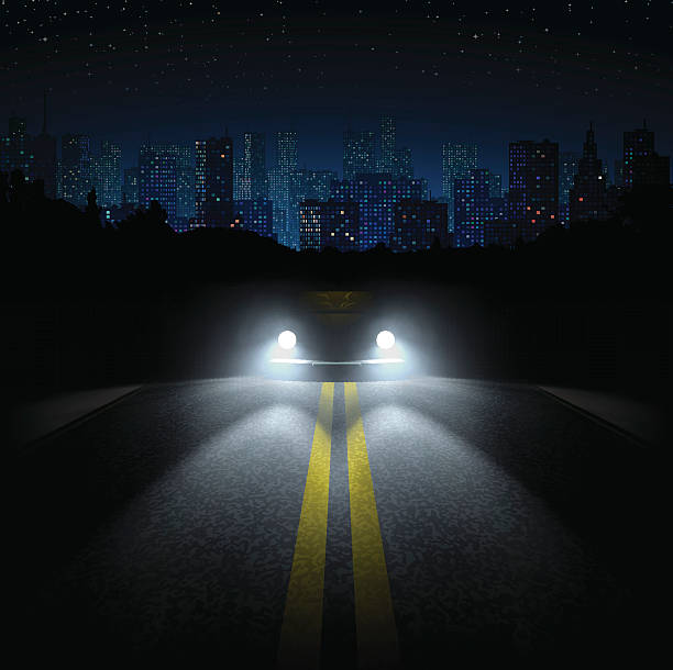 Night Road with the Car and the City on the Horizon vector art illustration