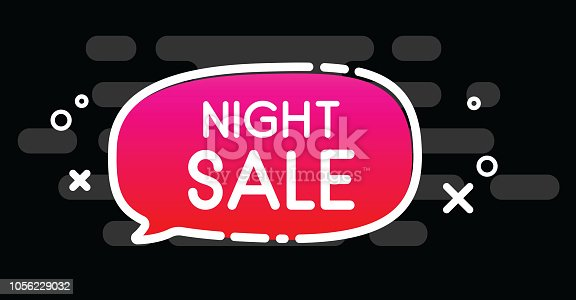 Night sale. Black promotion poster with pink speech bubble. Vector background.