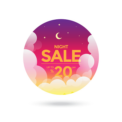 Night Sale Tag. Moon, Stars and Clouds on the dark night sky background stock illustration
