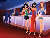 Vector illustration of people in a bar