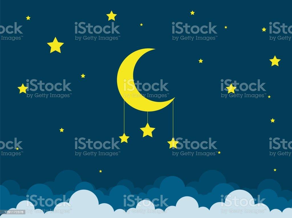 Nattscen med måne och stjärnor. Nattlig himmel med stor måne. God natt sky kort. - Royaltyfri Andlighet vektorgrafik