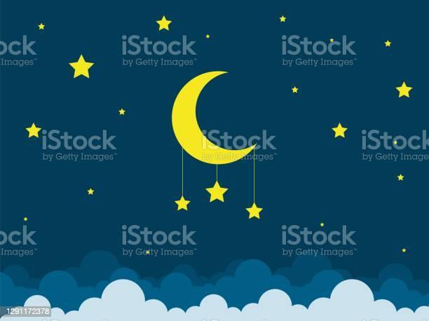 Nattscen Med Måne Och Stjärnor Nattlig Himmel Med Stor Måne God Natt Sky Kort-vektorgrafik och fler bilder på Andlighet