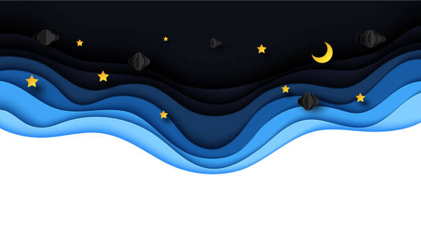 Night scenery with clouds,stars and crescent moon on midnight sky. vector art illustration