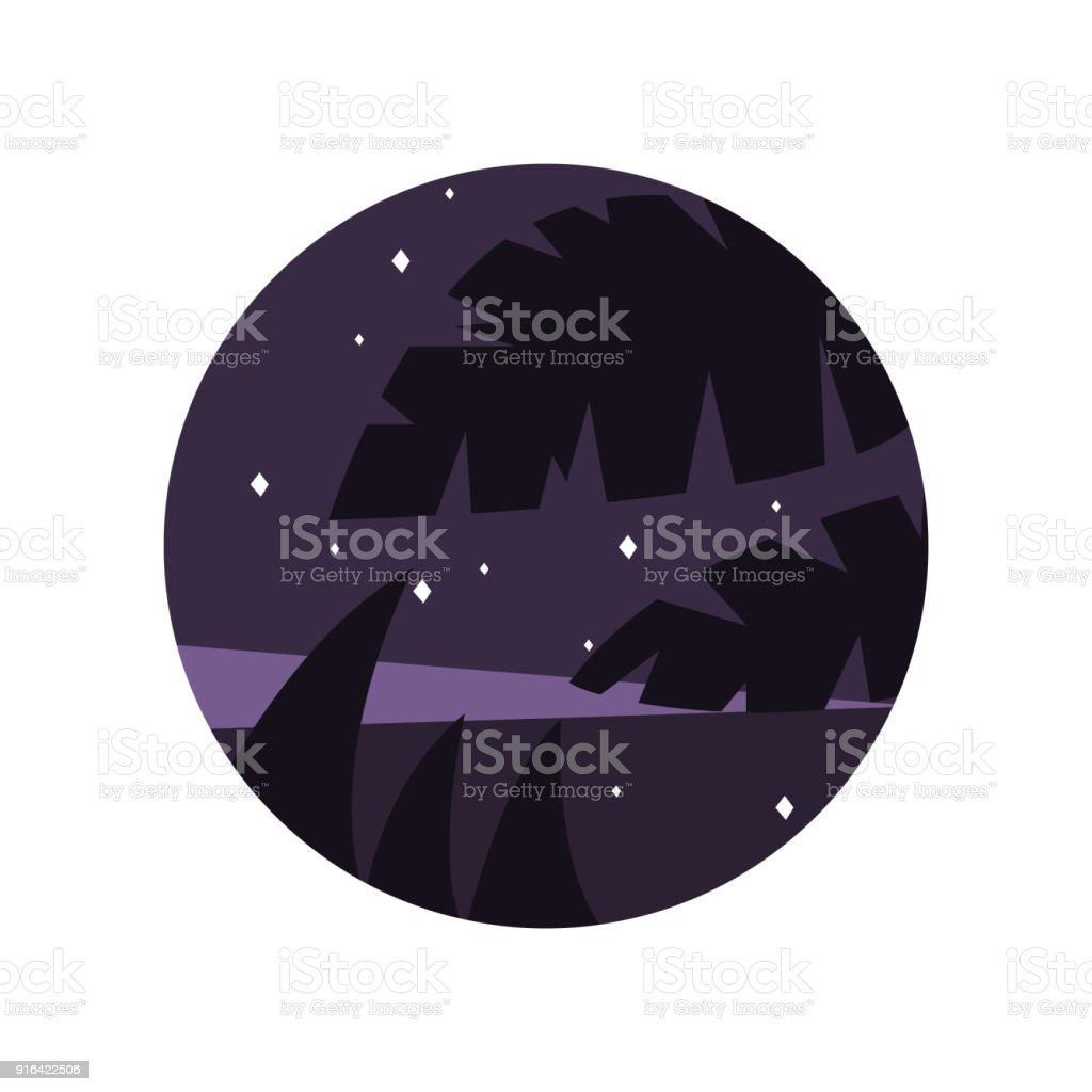 Ilustración de Paisaje De Noche Con Cielo Estrellado Púrpura Y ...