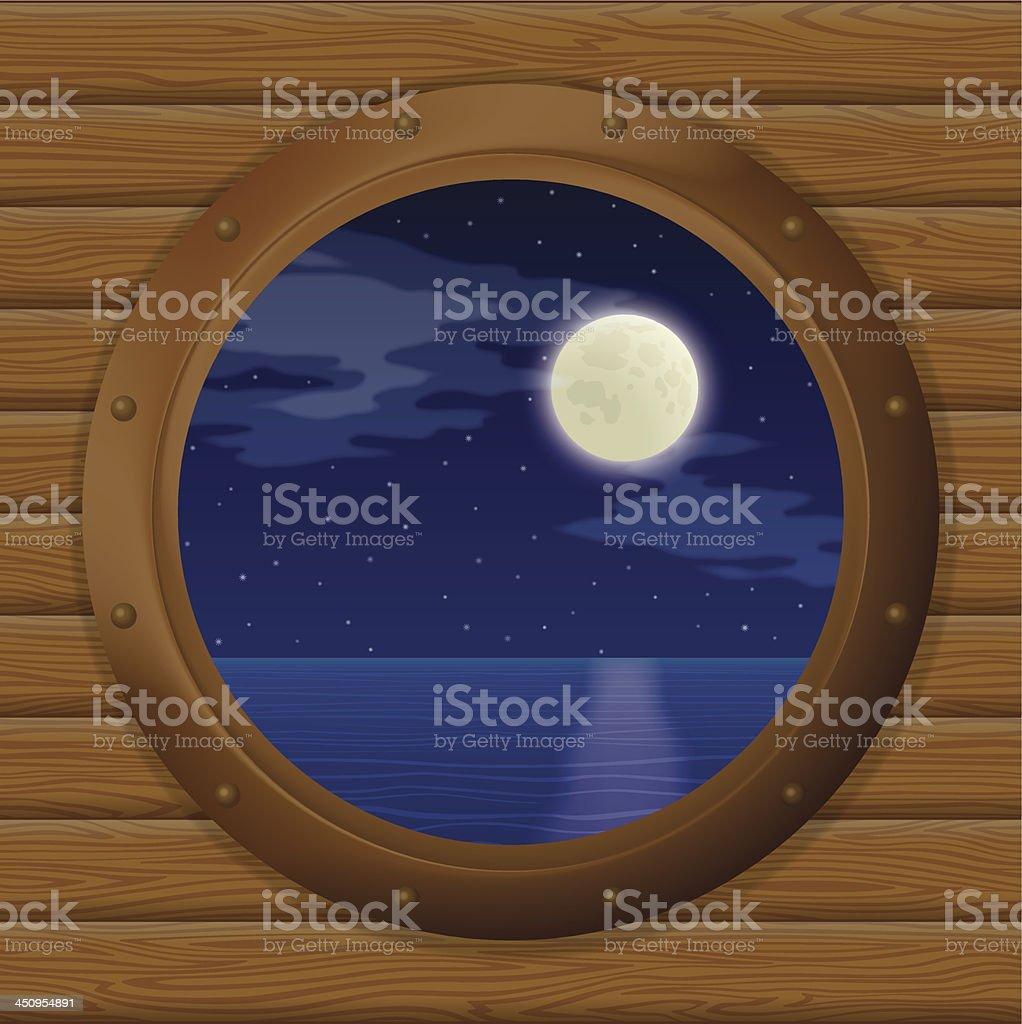 Night sea in a ship window royalty-free stock vector art