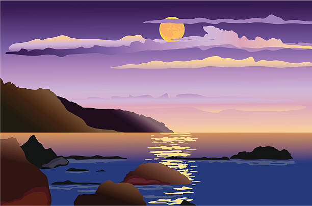 night sea-scape Vector drawing of a moonlight night at sea coast. rock formations stock illustrations