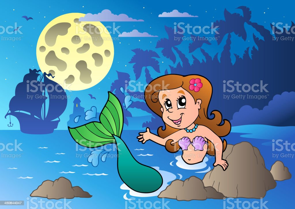 Night seascape with swimming mermaid royalty-free stock vector art