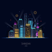 Night Shanghai in neon shine. Lights of the big city. Skyscrapers and fireworks. Concept design holiday background. Vector illustration.