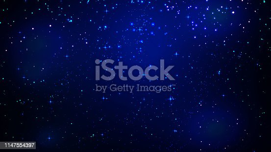 Night shining starry sky, blue space background with stars, cosmos background