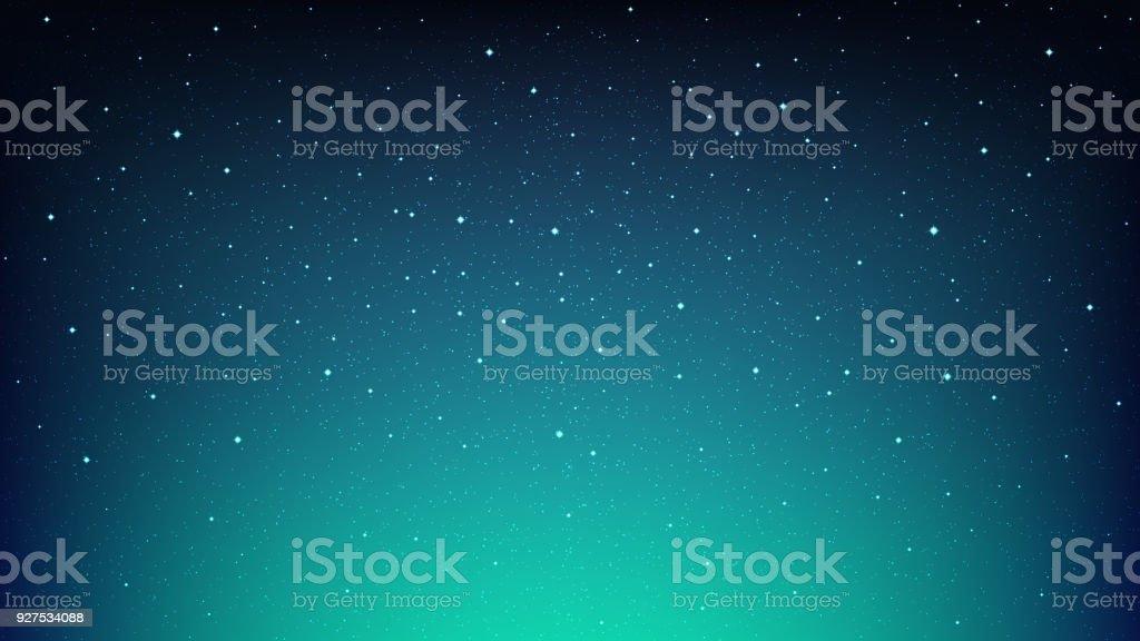 コスモスの星夜輝く満天の星空、青いスペース背景 ベクターアートイラスト