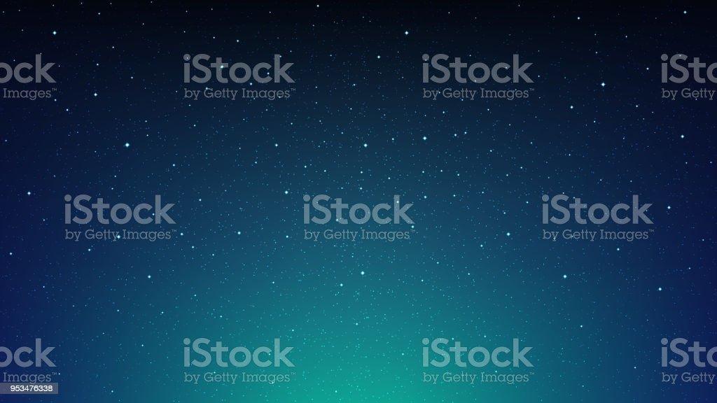 Nuit fond d'espace de ciel étoilé, bleu brillant avec étoiles, cosmos - clipart vectoriel de Abstrait libre de droits