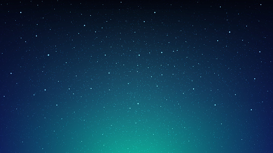 Night shining starry sky, blue space background with stars, cosmos clipart