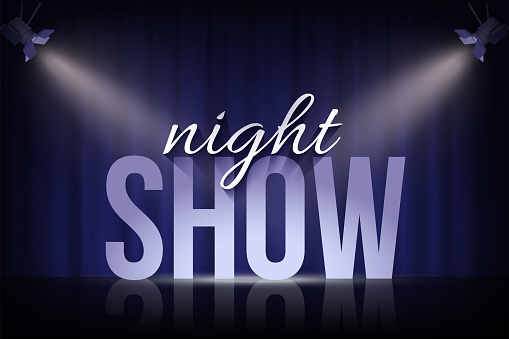 Night Show words under spotlights on blue curtain background. Vector cinema, theater or circus background.