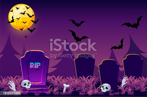 istock Night simple Halloween background, scary cemetery skull for game. 1315331433