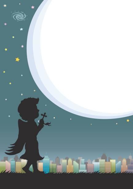 nachthimmel und stadt mit sprechblase oder mondlicht. silhouette der engel in der sternenklaren nacht beten. - schutzengel stock-grafiken, -clipart, -cartoons und -symbole