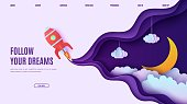 istock Night sky and red rocket in paper cut style. Cut out 3d website template with violet and blue gradient cloudy landscape with star on rope and moon papercut art. Vector card with origami spaceship. 1257899813