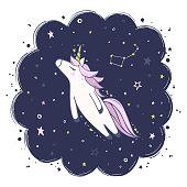 night sky and unicorn