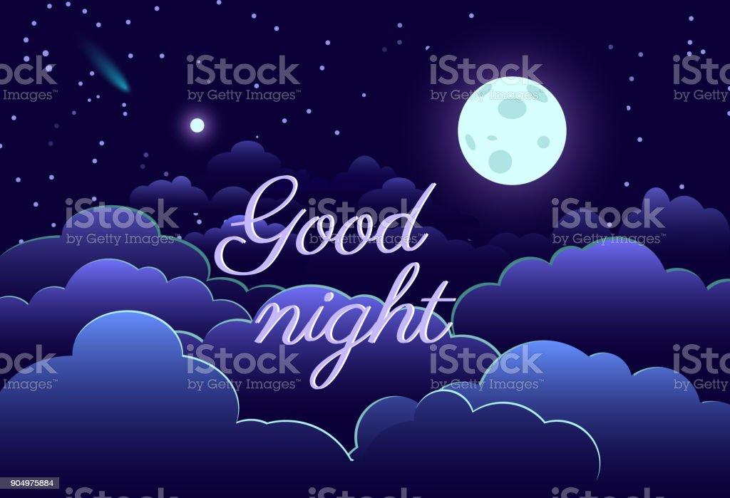 Night sky art design moon star paper cartoon vector art illustration
