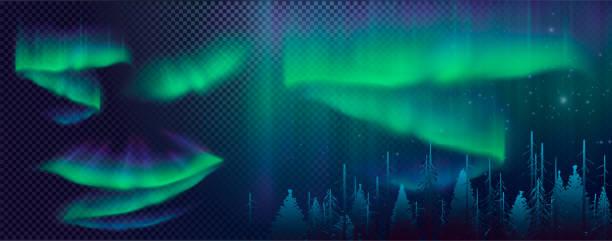 Noite céu, Aurora Boreal, efeito Northern Lights, luzes polares realista coloridas. - ilustração de arte em vetor