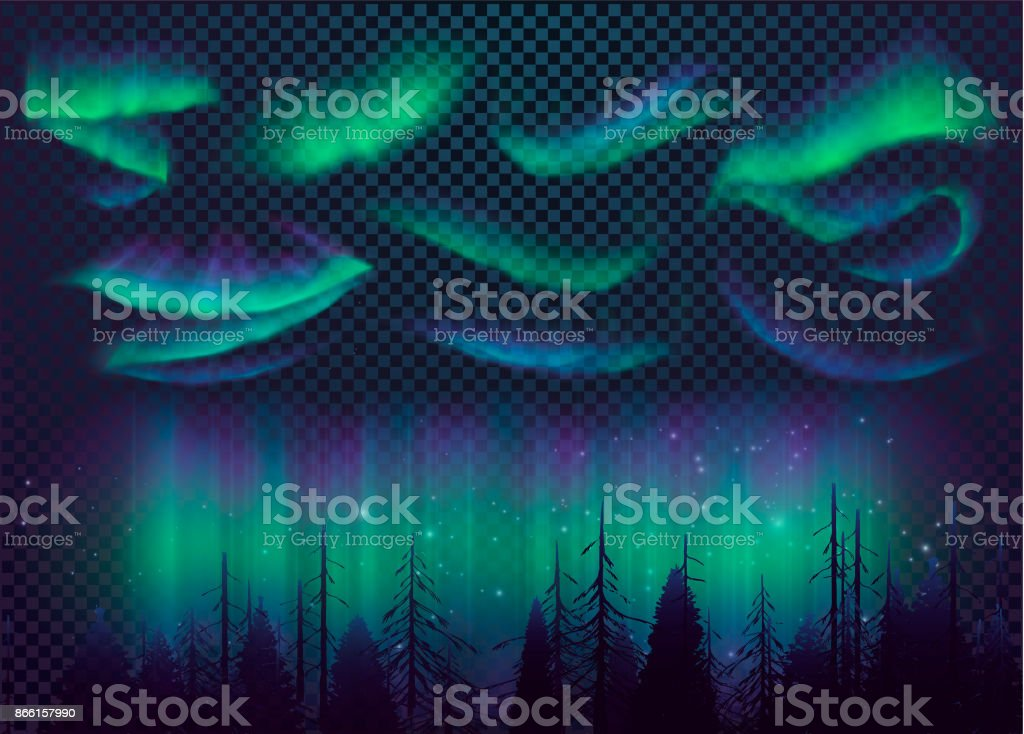 Night Sky, Aurora Borealis, Northern Lights Effect, Realistic Colored polar lights. vector art illustration