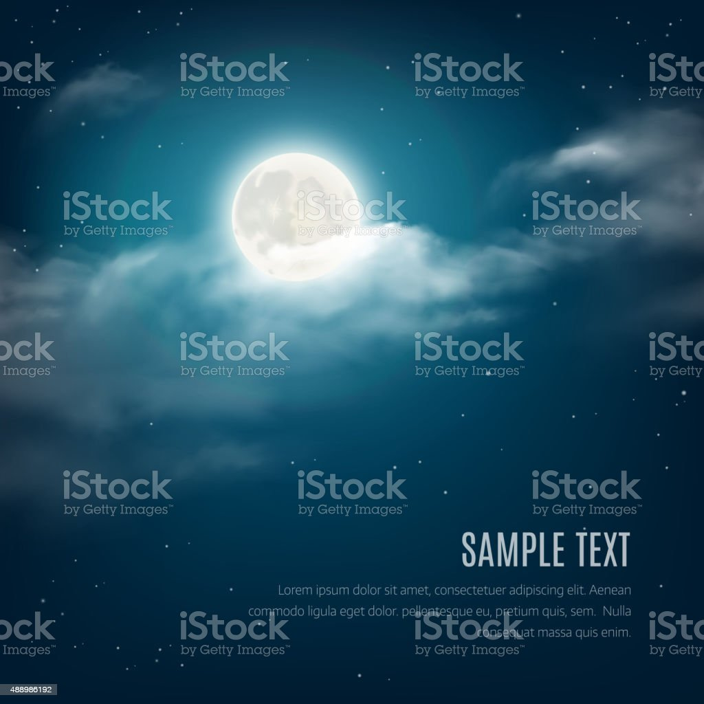 Night sky background, cloudy sky with the shining stars, moon vector art illustration