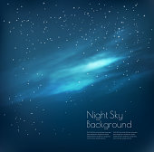 Night sky background with clouds and stars. Vector
