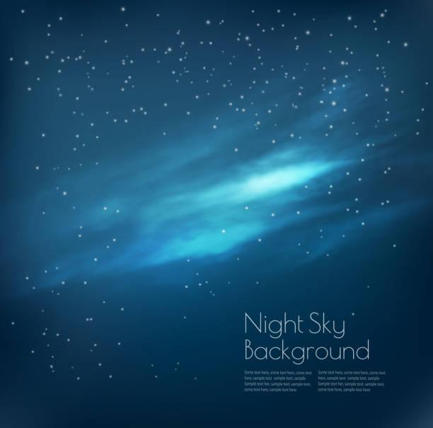 illustrazioni stock, clip art, cartoni animati e icone di tendenza di night sky background with clouds and stars. vector - fiordi