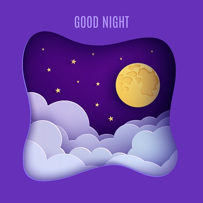 Night sky clouds frame like pillow in paper cut style. Cut out 3d background with violet and blue gradient cloudy landscape with gold stars and full moon papercut art. Cute vector origami clouds