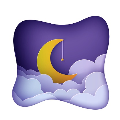 Night sky clouds frame like pillow with gold star on rope and moon in paper cut style. Cut out 3d background with crescent and cloudy landscape papercut art. Good night sweet dreams wish vector card.