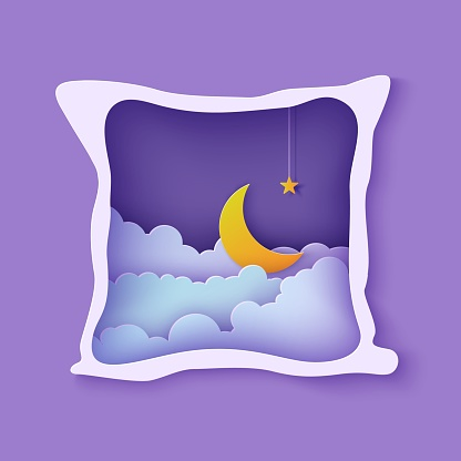 Night sky clouds frame like pillow with gold stars on rope and moon in paper cut style. Cut out 3d background with crescent and cloudy landscape papercut art. Good night wish vector card.