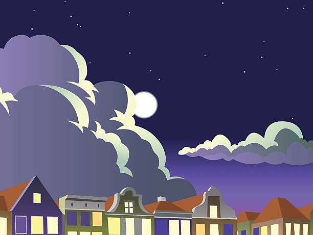 stockillustraties, clipart, cartoons en iconen met night sky in an european city. cartoon style. poster - sky houses dark amsterdam