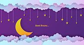 Night sky in paper cut style. Cut out 3d background with violet and blue gradient cloudy landscape with stars and moon papercut art. Cute origami clouds. Vector card for wish good night sweet dreams