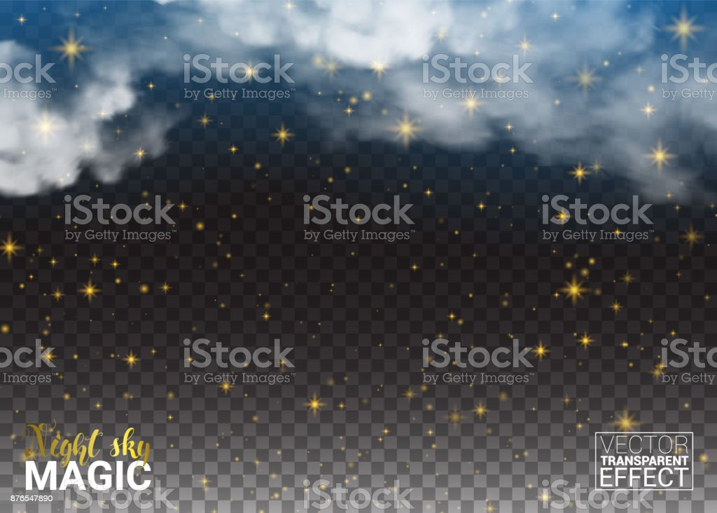 Night sky magic Stars and cloud. Design Shining Environment Space. Vector Illustration Abstract Transparent Background. vector art illustration