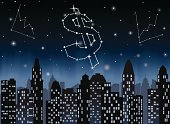 Constelations in the shape of a dollar sign and line graphs, over skyscrapers.