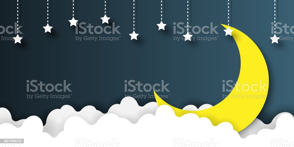 Night sky paper art style vector art illustration
