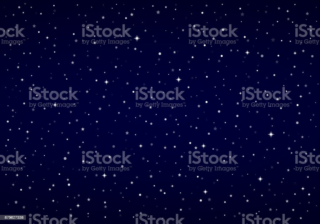 Night Sky, Snow, Stars | Vector Christmas Background vector art illustration