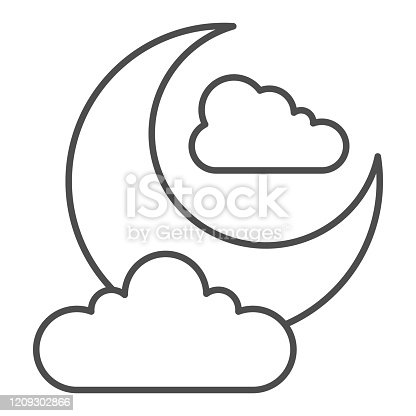 istock Night sky thin line icon. Crescent moon and clouds. Halloween party vector design concept, outline style pictogram on white background. 1209302866