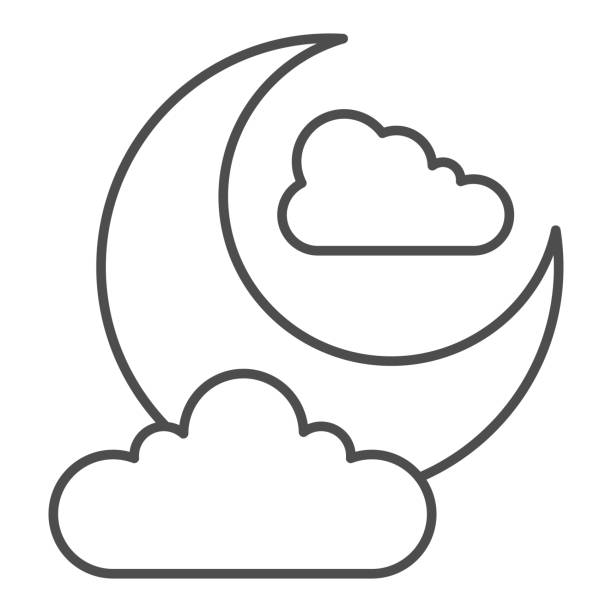 Night sky thin line icon. Crescent moon and clouds. Halloween party vector design concept, outline style pictogram on white background. Night sky thin line icon. Crescent moon and clouds. Halloween party vector design concept, outline style pictogram on white background image stock illustrations