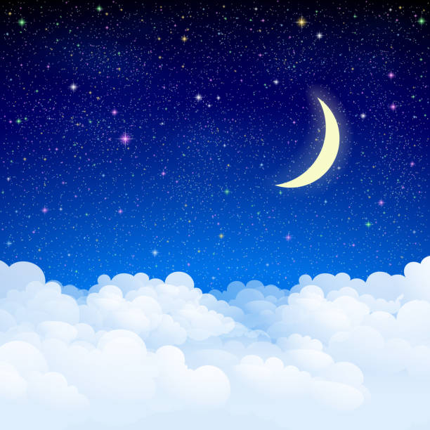 Night sky Starry heaven with clouds. altocumulus stock illustrations