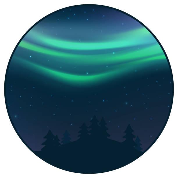bildbanksillustrationer, clip art samt tecknat material och ikoner med natthimlen med norrsken över granskog i vinter, gröna norra ljus med stjärnor, polar ljus glödande, polar serpentiner. vektor - northern lights