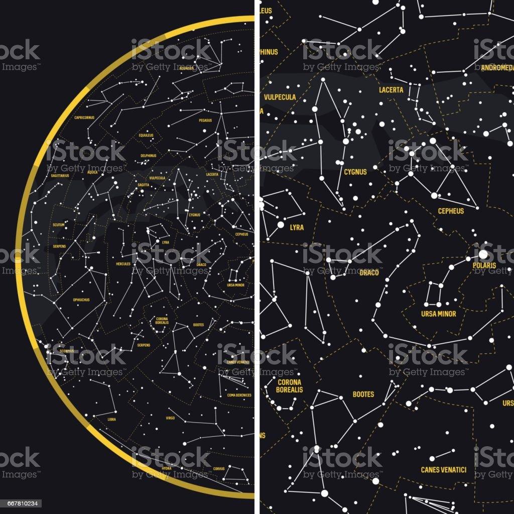 Night Sky with Constellations vector art illustration