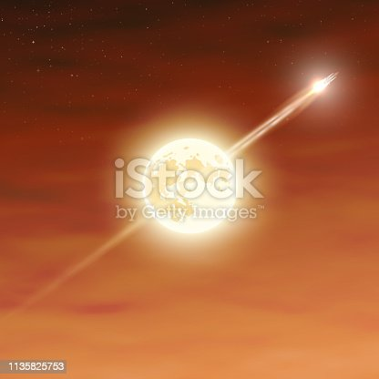 The rocket flies on the background of the moon. Rocket takes off from the space base. The launch into space. Start up concept vector. Vector illustration EPS10.
