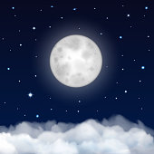 Night sky with moon, stars and clouds