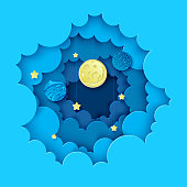 Night sky with moon, stars and planets in the clouds. Paper art 3D abstract background with origami shapes. Paper waves, layers texture. Geometric design layout.
