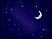 Night sky with stars and crescent moon