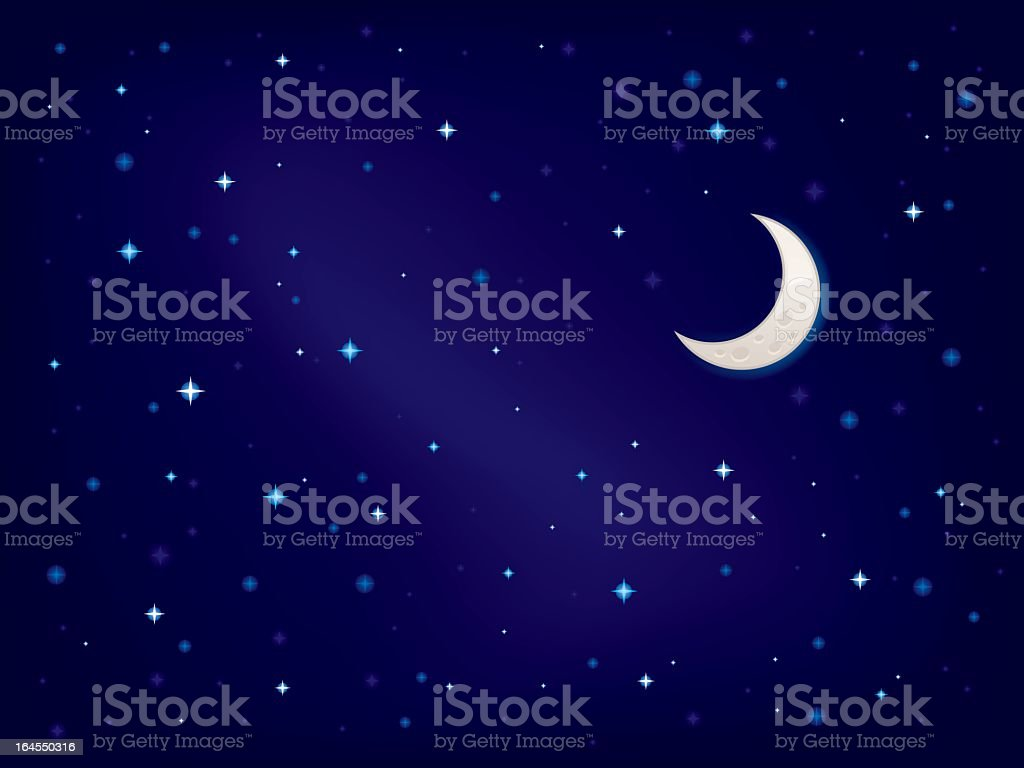 Night sky with stars and crescent moon vector art illustration