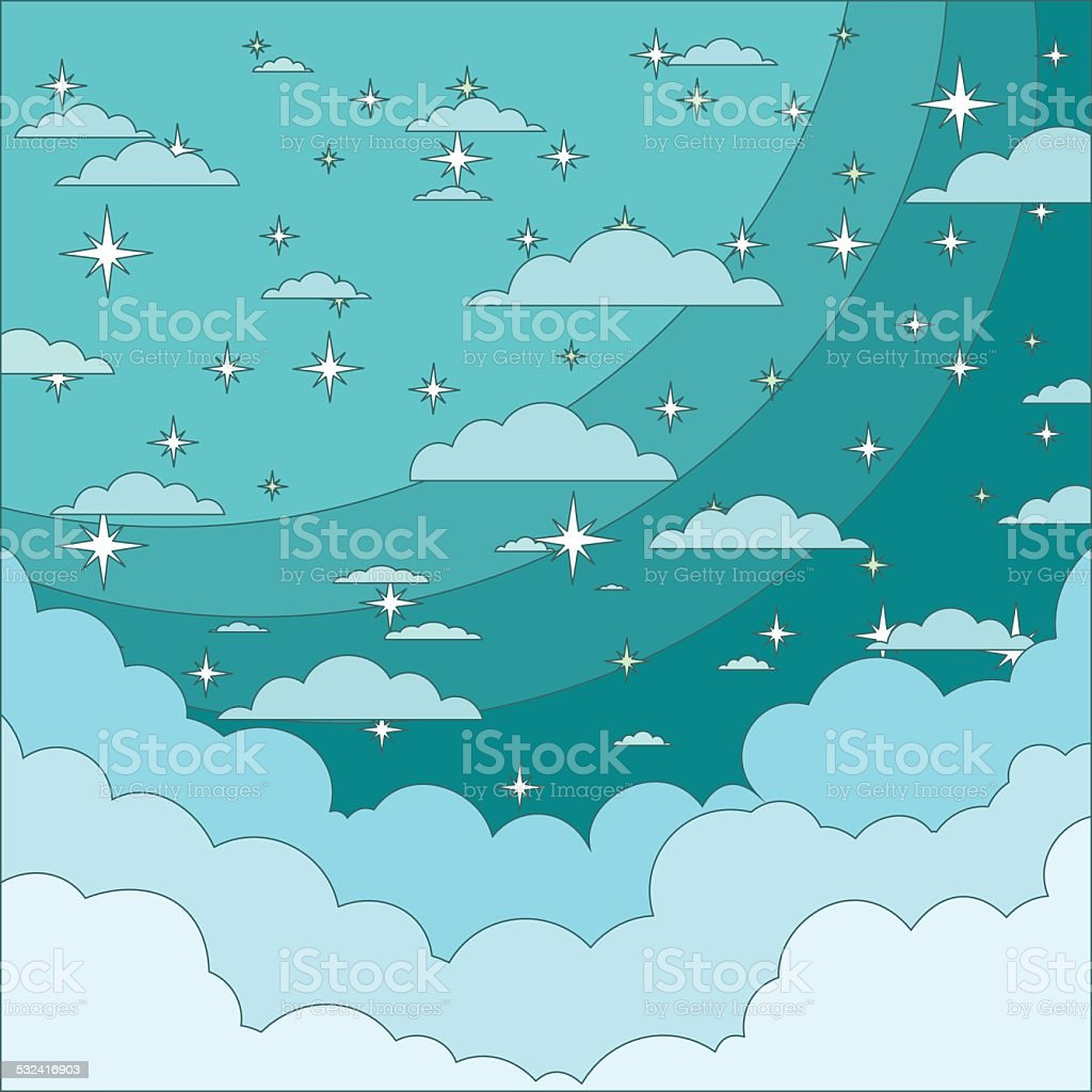 Night Sky with Stars in the Clouds. Stock Vector Illustration vector art illustration