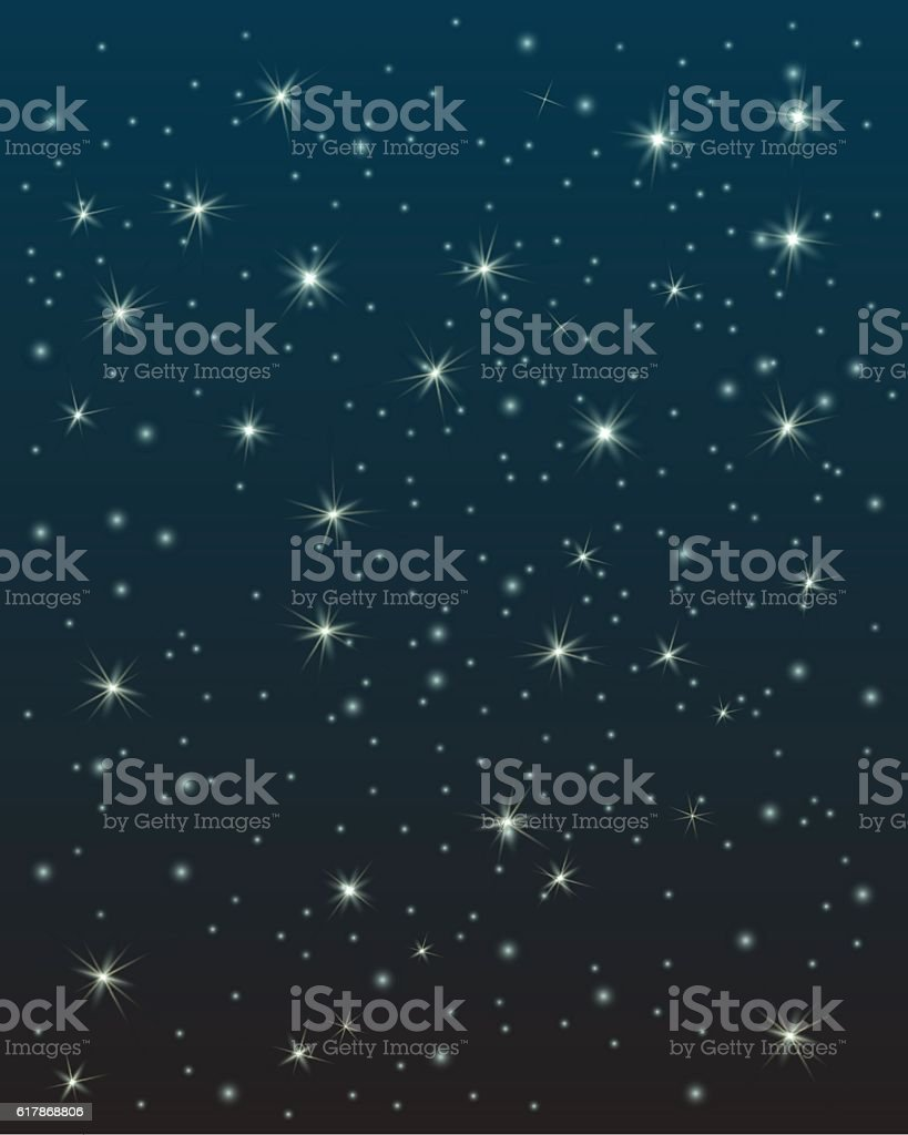 Night sky with stars vector art illustration