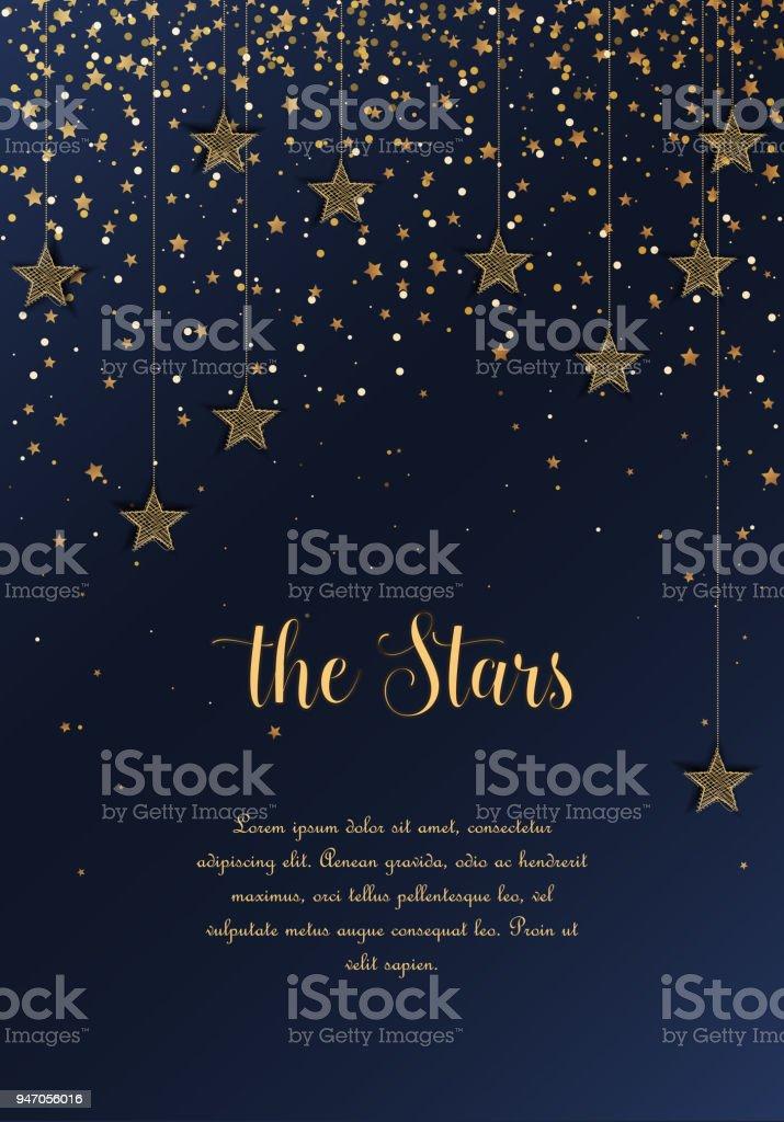 Cielo de noche con estrellas - ilustración de arte vectorial