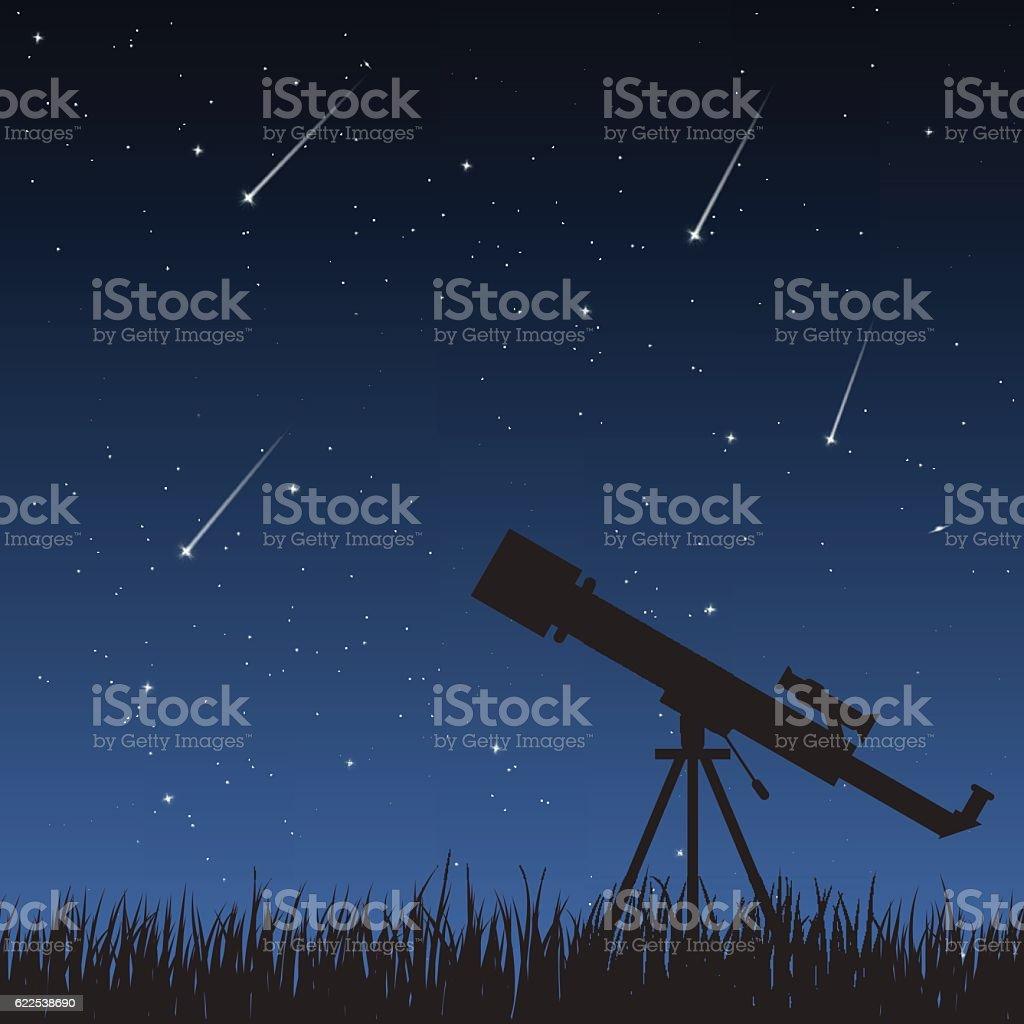 Night Sky with Telescope vector art illustration